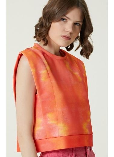 NetWork 1079821 Kadın Basic Fit Desenli Sweatshirt Oranj